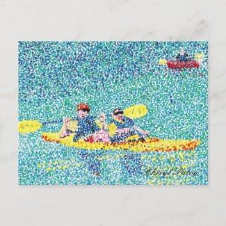 Pointillism kayak scene, by Cheryl Paton, postcard postcard