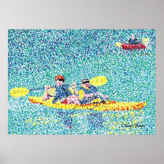 Pointillism kayak scene, by CherylsArt 28 x 20 Poster