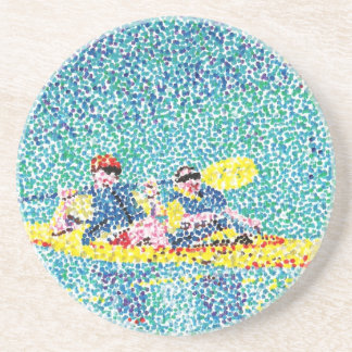 Pointillism Kayak Scene Painting Coasters