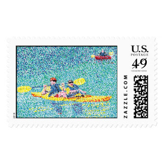 Pointillism kayak scene stamps, by Cheryl Paton Stamps