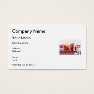 Pointillism Polar Bear Family Snowflake Cutout Business Card