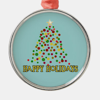 Pointillism Style Christmas Tree Products Metal Ornament