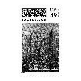 Pointillist Art Style New York City Stamp