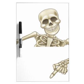 Pointing and Waving Cartoon Skeleton Dry-Erase Board