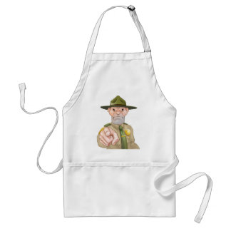 Pointing Cartoon Forest Ranger Adult Apron