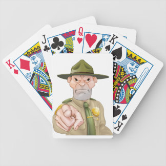 Pointing Cartoon Forest Ranger Bicycle Playing Cards