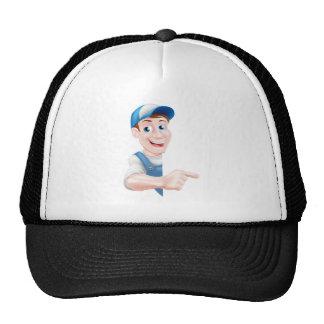 Pointing Cartoon Man Trucker Hat