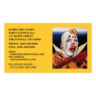 POINTING CLOWN BUSINESS CARDS ~ MAKE A STATEMENT!