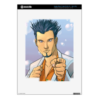 Pointing Dude - Blue Decal For iPad 3
