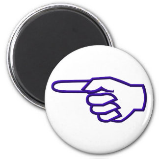 Pointing Finger 2 Inch Round Magnet