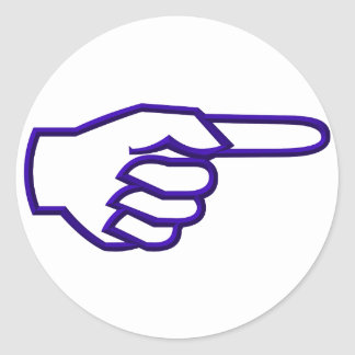 Pointing Finger Classic Round Sticker