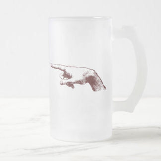 pointing finger frosted glass beer mug