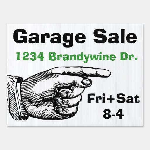 Pointing Finger Garage Sale Yard Sign