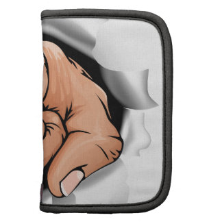 Pointing hand breaking wall folio planners