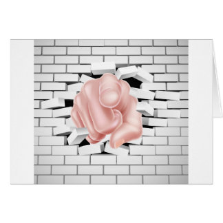 Pointing Hand Breaking White Brick Wall Card