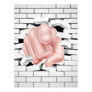 Pointing Hand Breaking White Brick Wall Postcard
