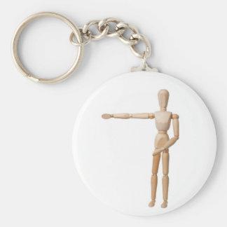 Pointing Left Basic Round Button Keychain