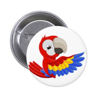 Pointing Parrot Bird Button