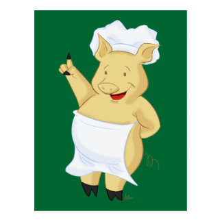 Pointing Pig Chef Cartoon Postcard