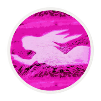 pointing pink mermaid edible frosting rounds