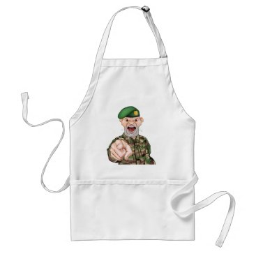 Pointing Soldier Cartoon Adult Apron