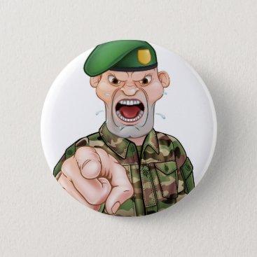 Pointing Soldier Cartoon Button
