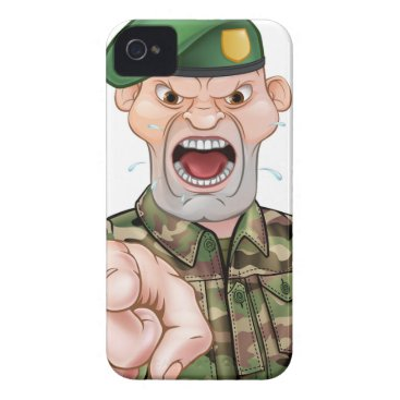 Pointing Soldier Cartoon Case-Mate iPhone 4 Case