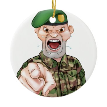 Pointing Soldier Cartoon Ceramic Ornament