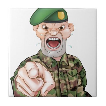 Pointing Soldier Cartoon Ceramic Tile