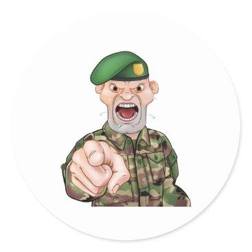 Pointing Soldier Cartoon Classic Round Sticker