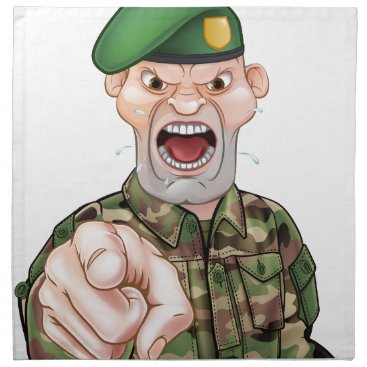 Pointing Soldier Cartoon Cloth Napkin