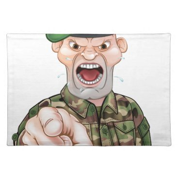Pointing Soldier Cartoon Cloth Placemat