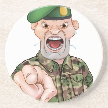 Pointing Soldier Cartoon Coaster