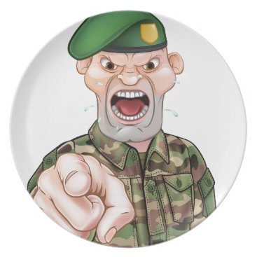 Pointing Soldier Cartoon Dinner Plate
