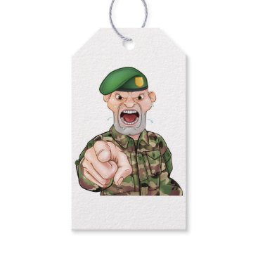 Pointing Soldier Cartoon Gift Tags