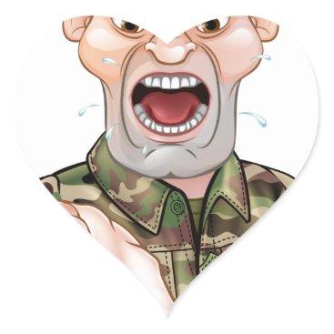 Pointing Soldier Cartoon Heart Sticker