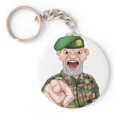 Pointing Soldier Cartoon Keychain