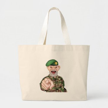 Pointing Soldier Cartoon Large Tote Bag