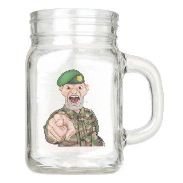 Pointing Soldier Cartoon Mason Jar
