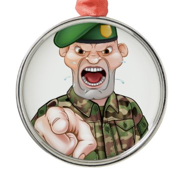 Pointing Soldier Cartoon Metal Ornament