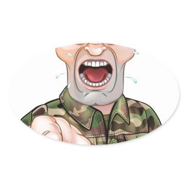 Pointing Soldier Cartoon Oval Sticker