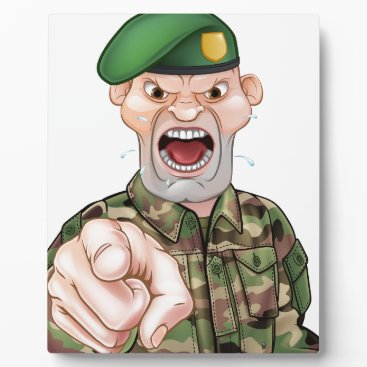 Pointing Soldier Cartoon Plaque