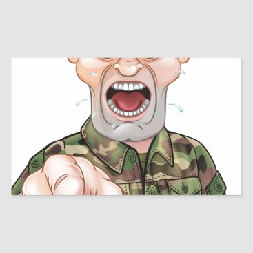 Pointing Soldier Cartoon Rectangular Sticker