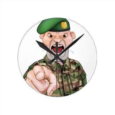Pointing Soldier Cartoon Round Clock