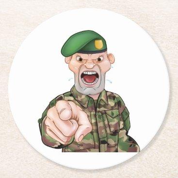 Pointing Soldier Cartoon Round Paper Coaster