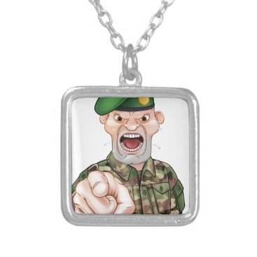Pointing Soldier Cartoon Silver Plated Necklace