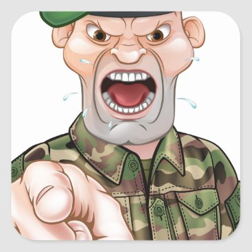 Pointing Soldier Cartoon Square Sticker