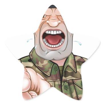 Pointing Soldier Cartoon Star Sticker