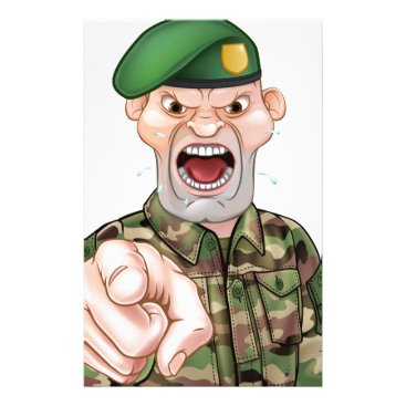 Pointing Soldier Cartoon Stationery