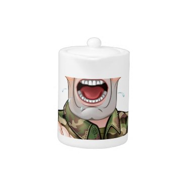 Pointing Soldier Cartoon Teapot